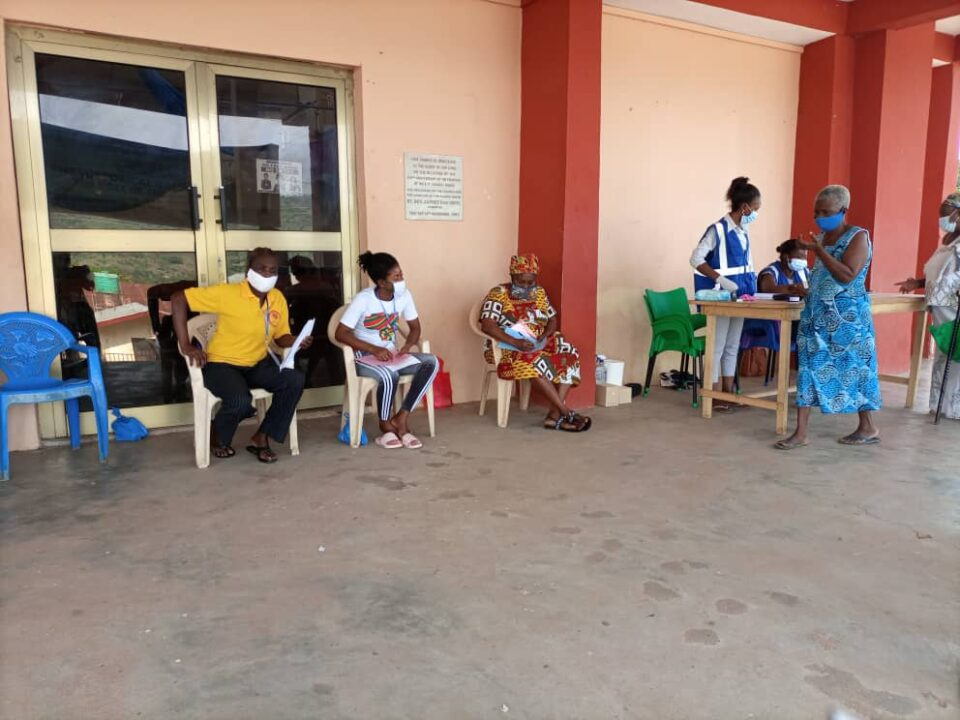 Voters going through the process at Peki