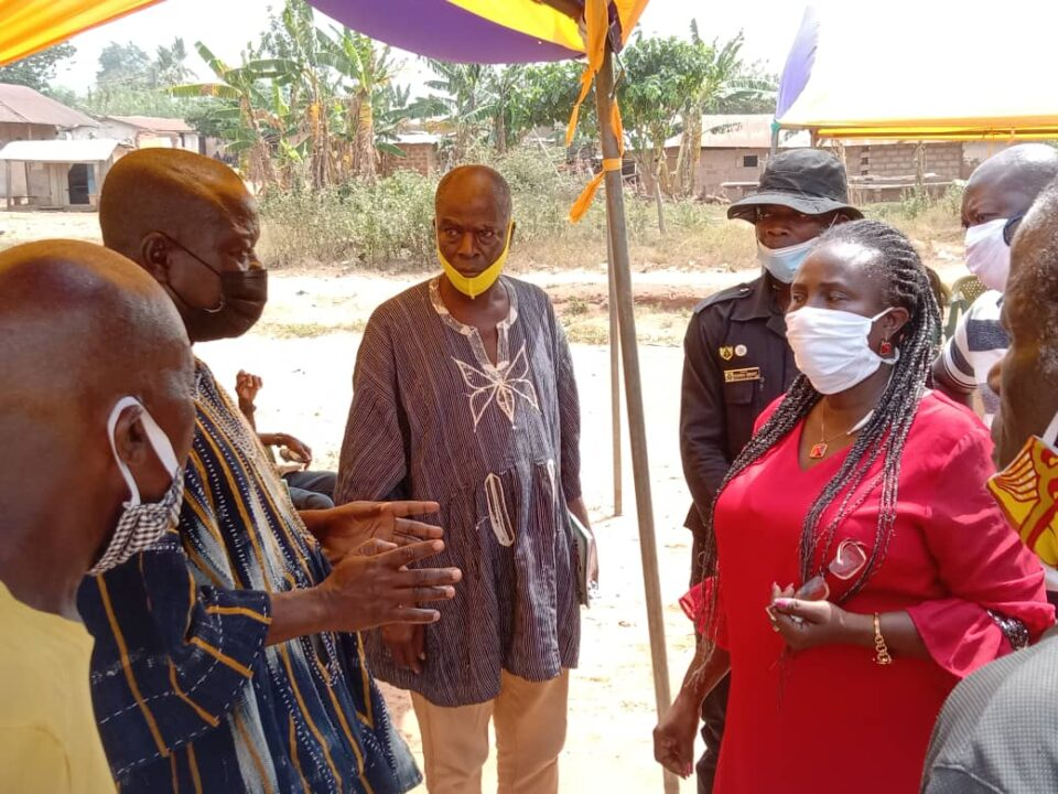 Madam Comfort Akuea Atta (middle) meeting chief and eldest of Nkonya-Bumbula